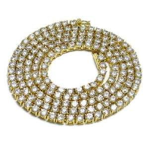 Mens 30 Hip Hop Bling CZ Necklace Chain Gold NEW 1 Row Hip Hop FAST