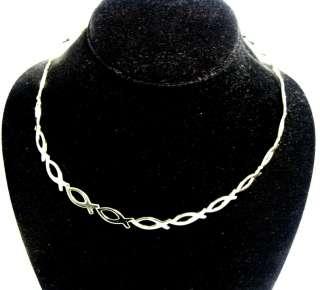 New Christian Fish Symbol Silver Tone Collar Choker Necklace