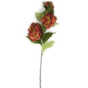 Silk Flowers stem birds nest hydrangea 33 in red grn