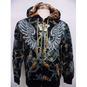 AUDIGIER ED HARDY MENS WINGED CASH HOODIE SHIRT BLK Size (Mens) XL