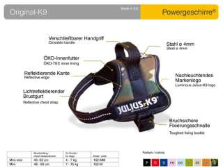 Julius K9 power harness, all sizes, 10 colors, NEW