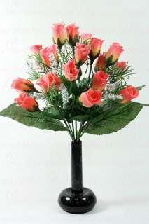 21 42 ROSE BUDS RED PINK YELLOW 10 long stem silk bush wedding flower