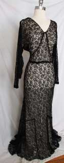 Vtg 30s Black Lace Bias Evening Gown Dress ~ Dolman Sleeve Party