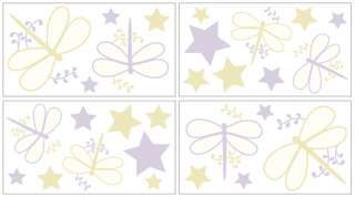 PURPLE DRAGONFLY DREAMS WINDOW TREATMENT PANEL CURTAINS