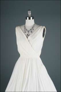 50s White Chiffon Wrap Top Crepe Wedding Bridal Prom Party Dress XS/S