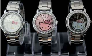 NEW Cute Hello Kitty Women Lady Crystal Stainless Steel Quartz Wrist