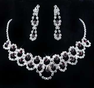 Wedding bridal party 1set Rhinestone crystal Necklace+Earring purple