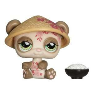 Head Pet Figure Gift Set #904   Brown Panda with Woven Sun Hat, Bowl