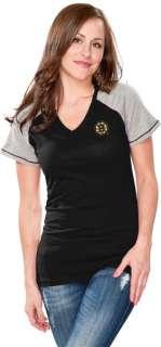 Boston Bruins Womens Black Energy V Neck T Shirt