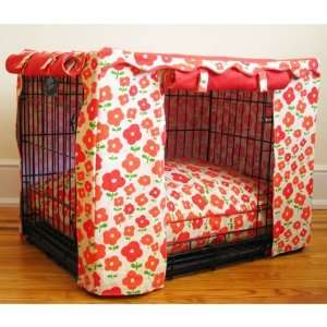 Coral Daisy Dog Crate Cover   Small
