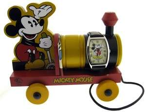 EDITION FOSSIL MICKEY MOUSE WATCH AND COLLECTIBLE WOODEN TOY TRAIN