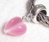 Sweet Sterling Silver Pink Opal Heart Love European Bead Charm