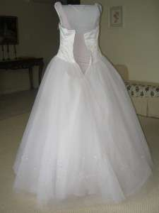 Cinderella Princess Alfred Angelo 3703 White Tulle Wedding Dress