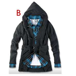 Mens Casual Slim Woolen Sweater Hooded Cardigan Knitting Coat Jacket 5