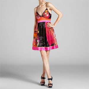 Sue Wong Magenta Floral Print Silk Blend Dress ( Size 8)