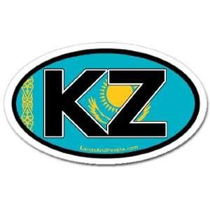 Kazakhstan KZ and Kazakh Flag Car Bumper Sticker Decal