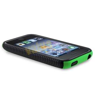Gel CASE Green Hard COVER+Privacy Protector For iPhone 3 3G 3GS