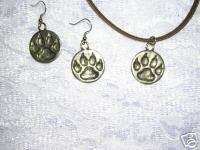 WOLVES SET OF WOLF PAW PRINTS 18 NECKLACE & EARRINGS