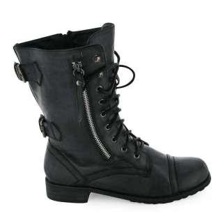 LADIES BLACK MILITARY LACE UP COMBAT BOOTS SIZE 3 8 NIB