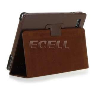NEW BROWN PROTECTIVE LEATHER FOLIO CASE STAND COVER FOR ACER ICONIA
