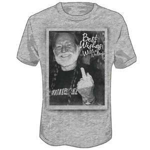 New Willie Nelson Best Wishes Middle Finger T shirt tee