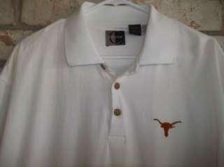 White Burnt Orange TEXAS LONGHORNS UT polo Shirt sz L Lg