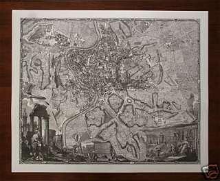 MAP OF OLD ROME ROMA ITALY ENGRAVING PRINT ITALIAN ART