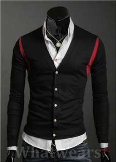 Mens Casual V  Neck Slim Sweater Cardigan Black W07