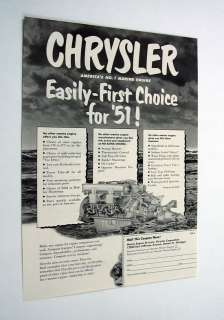 Chrysler Marine Engines engine motor boat yacht 1951 Ad