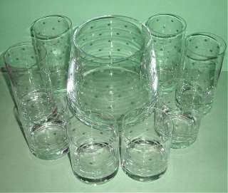 Kate Spade Larabee Dot Crystal Ice Bucket & 8 Glasses (4 Highballs/4