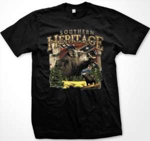 Heritage Wild Boar Mens T shirt Confederate Flag Wild Hog Hunting Tees