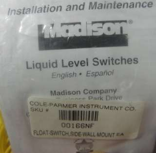 Madison Kynar Liquid Level switch; M9700; 20 FT LEADS