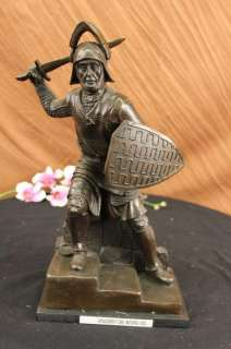 Signed Lange Roman Gladiator Spartan Warrior Bronze Sculpture Statue