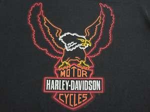 WICKED LOGO 1992 vtg HARLEY DAVIDSON NEON eagle T SHIRT