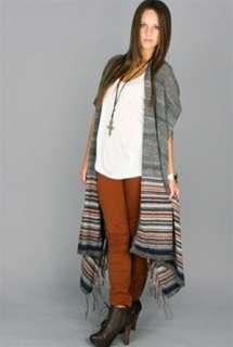 NEW FREE PEOPLE Toasty Alpaca Angora Wool Sweater Shawl Striped WRAP