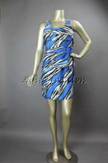 179.50 New MICHAEL KORS Blue Black White Zebra Stripe Dress 10