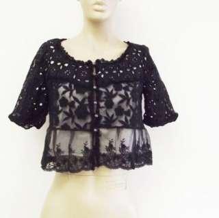 Sweet Black White Cropped Short 3/4 Sleeve Lace Eyelet Jacket Bolero