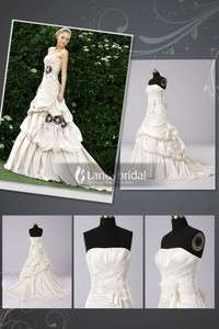2011 Ivory White Satin A Line Wedding Dress Bridal Gown Size 6 8 10 12