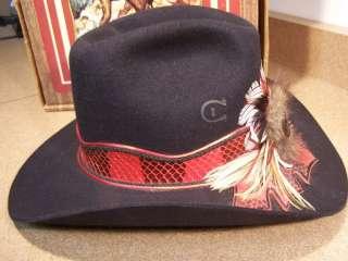 Black Charlie 1 Horse Western / Cowboy Hat w/ Back Oval Stone & Snake