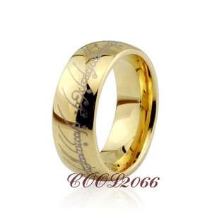 8mm COOL 18K Gold Plated Lord Of The Rings Tungsten Carbon Ring CW2