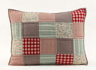 SUMMERS EDGE RED BLUE PATCHWORK 4PC QUEEN QUILT SET
