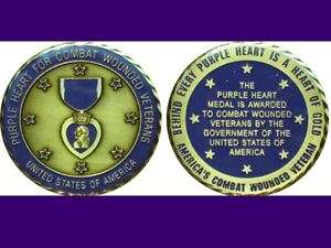 Purple Heart Military Challenge Coin 2 Large St