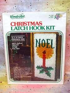 Hook Rug/Wall Hanging Kit,Noel,Candle&Holly,Orlon,12x27,NIB