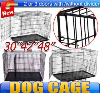 New 42 Dog Cage Folding Metal Dog Crate 3 doors Pet Kennel Portable W