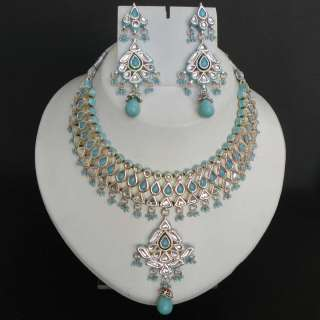 JODHA AKBAR REAL INDIAN HANDCRAFTED TURQUOISE KUNDAN MEENA NECKLACE