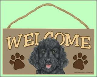 Labradoodle Dog (Black) 10 x 5 Wooden Welcome Sign