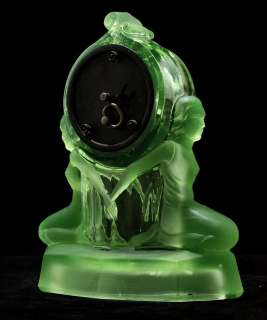 Walther Art Deco Green Uranium Glass Windsor Clock Garniture 1930s