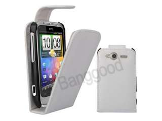 White Flip Leather Pouch Case For HTC Wildfire S G13
