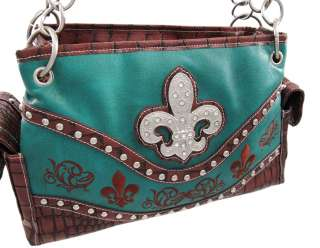 / Brown Chrome Studded Rhinestone Fleur De Lis Western Purse