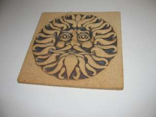 ART POTTERY Sun Plaque Tile TRIVET Signed WENZEL Larson Era